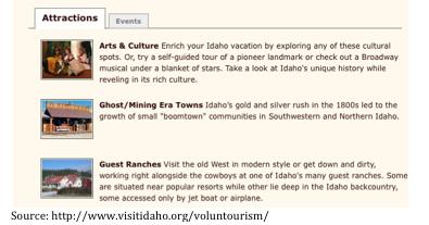 Volontourisme gestion de destination Idaho (attraits et évenements)