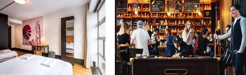 La chaine d'auberges Generator accorde une importance aux espaces communs tels que les bars, les cafes et les restaurants.
