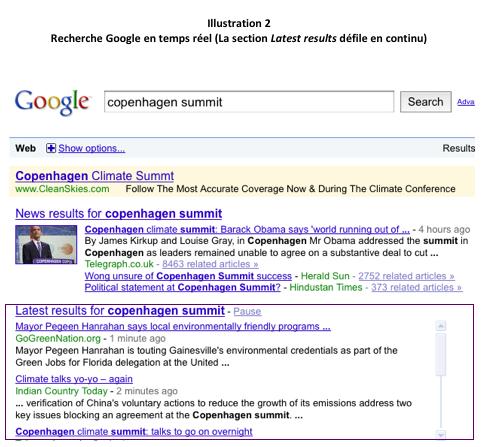Recherche Google en temps réel