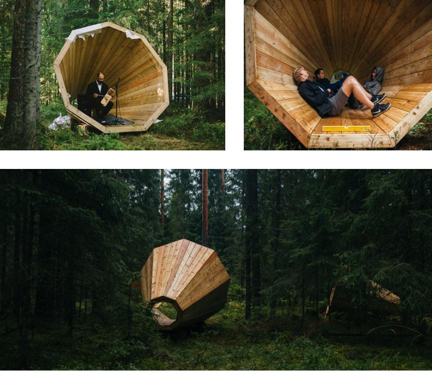 plein air, design, mégaphones, forêt, art