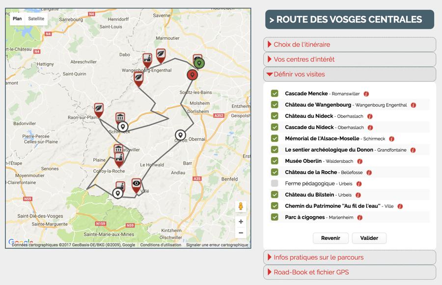 Alsace routes outil planification
